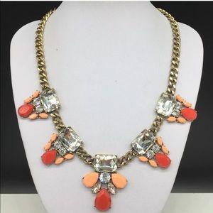 J CREW Rhinestone Necklace Coral Peach Clear JCREW